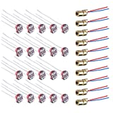 WayinTop 10pcs 5V Diodo Rosso Mini Laser Modulo 650nm 6mm + 20pcs Fotoresistenza Light Dependent Resistor 5mm GL5539 5539 pour Arduino