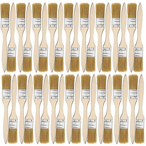 36-teiliges Pinselset 25,4mm Malerpinsel für Farben, Beizen, Lacke, Klebstoffe und Gesso Grundierung - Flachpinsel, Lasurpinsel, Lackierpinsel, Borstenpinsel zum Streichen, Maler Malerei Pinsel