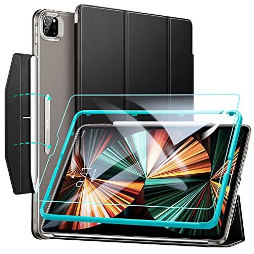 ESR Funda tríptica Ascend Compatible con iPad Pro 12.9 2021, Incluye Protector de Pantalla de Cristal Templado, Modo automático de Reposo Actividad, Compatible Carga inalámbrica para Pencil, Negro