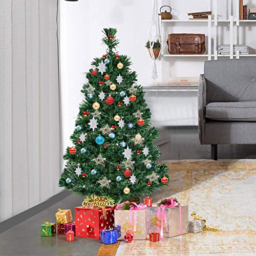 CASART-3FT-4FT-5FT-6FT-Artificial-Christmas-Tree-with-Fiber-Optic-Lightweight-Xmas-Decoration-with-Stand-Indoor-Outdoor-Green