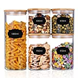 Comfook Barattoli Vetro Barattolo Cucina Contenitori Alimenti con Coperchio Ermetico di Legno bambù per Biscotti Pasta Cereali 650ML/950ML/1800ML
