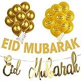 Oulensy Ramadan Kareem Dekoration Eid Mubarak-Fahne und Ballone Eid Ramadan-Party-Bevorzugung Eid al-Fitr Ramadan Mubarak Decor