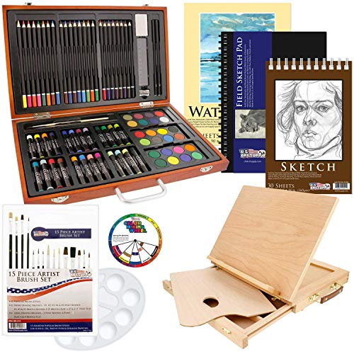US Art Supply 82 Piece Deluxe Art Creativity Set in Wooden Case Wood Desk Easel and Bonus 20 Additional Pieces  Deluxe Art Set