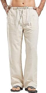 Mens Linen Pants Khaki Mens Pants Lightweight Breathable Loose Casual Jogger Yoga Beach Pants