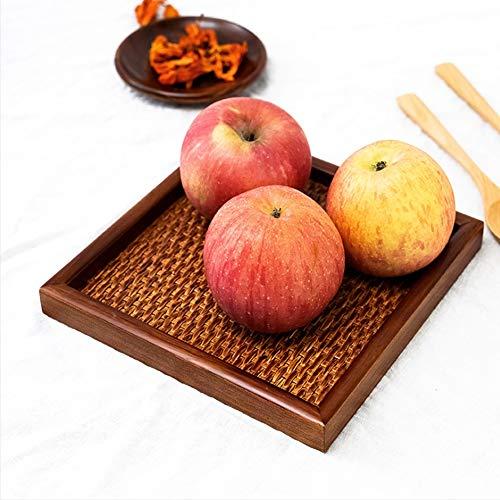 Dienblad, vierkante kom rotan mand lade fruitschaal voor thuis (30 * 30 * 2cm)
