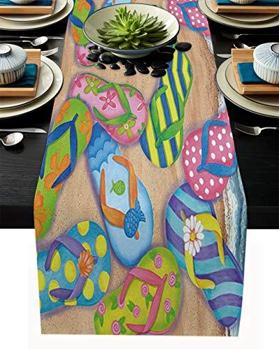 FAMILYDECOR Camino de mesa de arpillera de lino, bufandas de 45,7 x 182,8 cm, lindas chanclas de playa, caminos de mesa para fiestas de vacaciones, comedor, cocina, decoración de boda