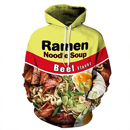 ZUEVI Men's Unisex Novelty 3D Printed Pullover Hoodies Sweatshirt with Pockets(BEEF-L)