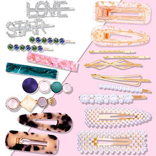 Lot de 20 barrettes à cheveux 1cke + 2 scruchies - Perles, perles, perles synthétiques, faux rhinestone/résine - Pour femme - Pour mariage, anniversaire, fête, cérémonie et vie quotidienne.