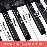 Klavier + Keyboard Noten-Aufkleber [DEUTSCHE VERSION + eBook] für Instrumente mit 49   61   76   88 Tasten Piano Sticker für weiße & schwarze Tasten + E-Book