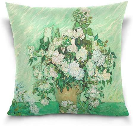 IUBBKI Víbora Azul Vincent Van Gogh Pintura Rosas Decorativa Funda de Almohada Cuadrada Funda de cojín para sofá Dormitorio Coche