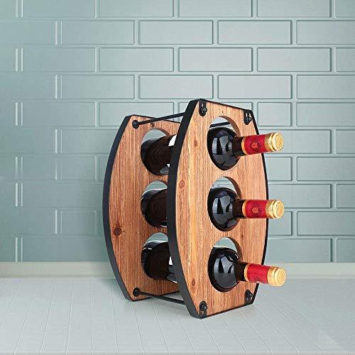 CESULIS Estante de vino de hierro para decoración del hogar, de metal, desmontable, 3 agujeros, 24 x 19,5 x 34,5 cm, delicado y hermoso expositor de vino