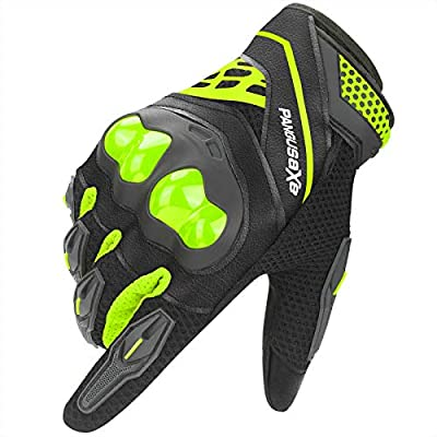 kemimoto Motorcycle Riding Summer Gloves Men Women, Moto Dirt Bike Touchscreen Motocross Bicycle Motorcycling Gloves Outdoor Driving ATV Off-Road Hard Knuckle Powersports Breathable Gloves (Green, XL)