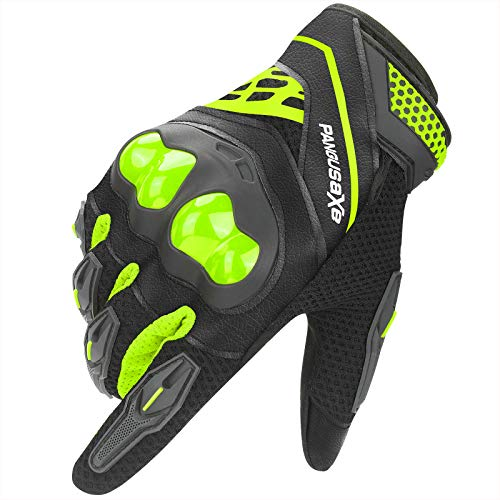 kemimoto Motorcycle Riding Summer Gloves Men Women, Moto Dirt Bike Touchscreen Motocross Bicycle Motorcycling Gloves Outdoor Driving ATV Off-Road Hard Knuckle Powersports Breathable Gloves (Green, L)
