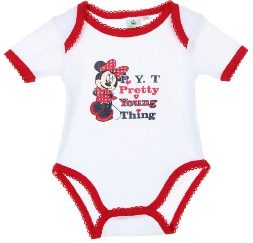 Body bébé fille manches courtes Minnie 'Pretty young thing' Blanc/rouge 23mois