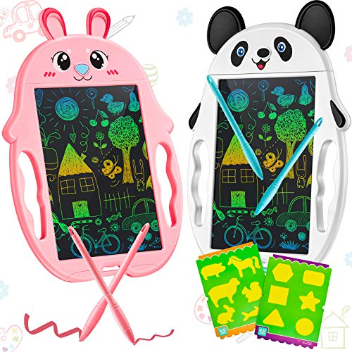 Zonon 2 Pieces Colorful LCD Writing Drawing Tablet Erasable Drawing Doodle Board 9 Inch Reusable Electronic Drawing Pads Educational and Learning Toys for Kids Teens Students Birthday