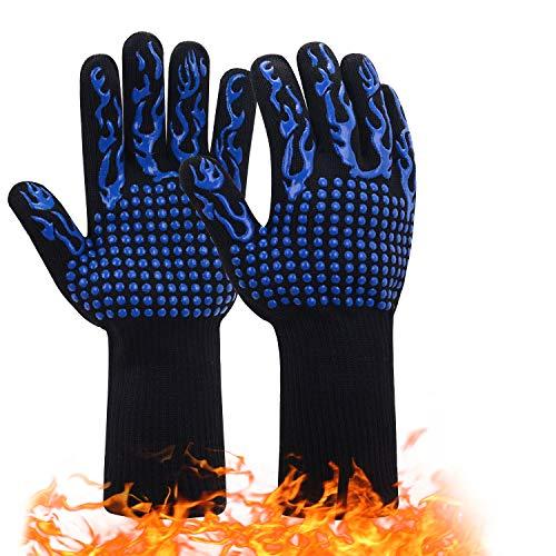 JSDing Grillhandschuhe Finger BBQ Handschuhe 1 Paar | Ofenhandschuhe Hitzebeständig bis zu 800 ° C/1472°F | Universalgröße Kochhandschuhe Backhandschuhe | Anti-Rutsch Silikon Extra Langen