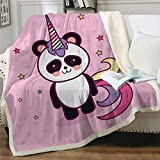 EIIORPO Cartoon Panda Sherpa Throw Blanket Super Soft Cozy Plush Fleece Blanket for Bed Couch Chair Baby Crib Living Room Lovely Fuzzy BlanketforGirls and Boys (40'×60',Unicorn Panda)
