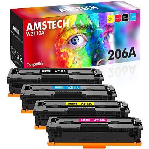 Price comparison product image Amstech Compatible Toner Replacement for HP 206A 206X Toner Cartridges M255dw M283fdw HP Color Laserjet Pro M255dw MFP M283fdw M283cdw M282nw Printer Toner (Black Cyan Yellow Magenta,  4-Pack)