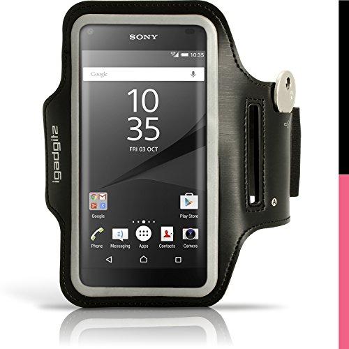 iGadgitz U4193 Anti-Rutsch Sport Jogging Gym Kompatibel mit Sony Xperia Z5 Compact E5803 E5823 - Schwarz