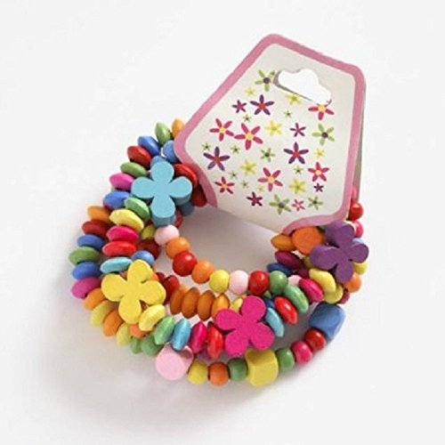 Childrens Wooden Bead Bracelets Set of 5