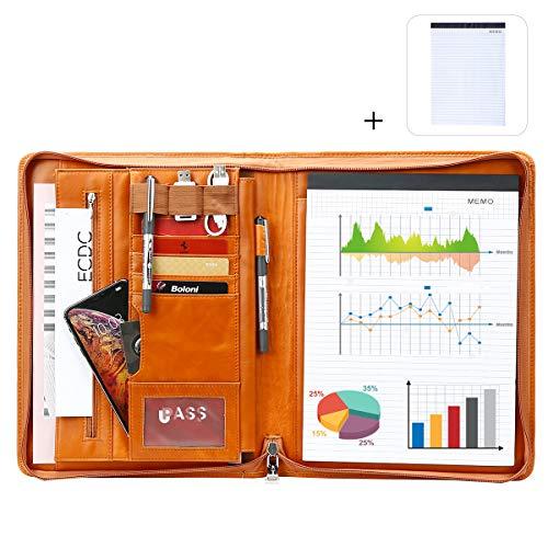 Leathario Portafolio de Carpeta Cuero Genuino Portadocumentos A4 Organizadora Oficina Personal para Conferencias de Negocio Viaje con Cremallera