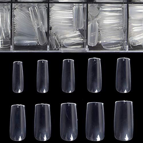 BTArtbox Natural Long Ballerina Nails & Square Nails 500pcs with case