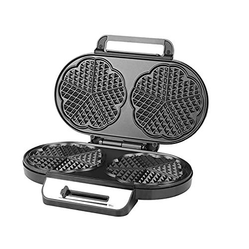 ZIEM Ferro waffle 1200 W para waffles de coração duplo, ferro waffle de coração com placa waffle dupla, controle contínuo de temperatura, revestimento antiaderente, invólucro de aço inoxidável,