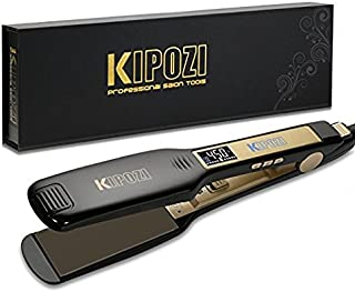 KIPOZI Professional Titanium Flat Iron Hair Straightener with Digital LCD Display, Dual Voltage, Instant Heat Up, 1.75 Inch Wide Black