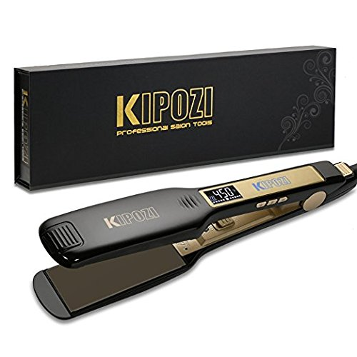 KIPOZI Professional Titanium Flat Iron Hair Straightener with Digital LCD Display, Dual...
