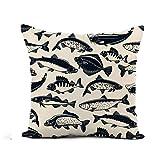 N\A Throw Pillow Cover Fish of Fishing Catch Atún Pike y Marlin Perch Funda de Almohada Decoración para el hogar Funda de Almohada de Lino de algodón Cuadrada Funda de cojín