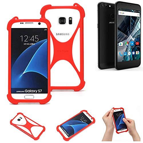 K-S-Trade Handyhülle Für Archos 55 Graphite Schutzhülle Bumper Silikon Schutz Hülle Cover Case Silikoncase Silikonbumper TPU Softcase Smartphone, Rot (1x)