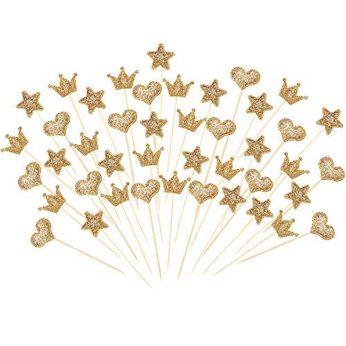 Boao 90 Piezas de Toppers de Magdalena, Palillos de Topper en Forma de Corazón Estrella Corona Dorada Brillante para Decoración de Pasteles de Fiesta