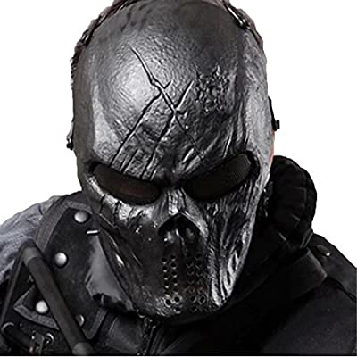 Tactical Mask Skull Full Face with Metal Mesh Eye Protection-Airsoft/BB Gun/CS Game-Zombie Masks Heads Scary for Cosplay Party Halloween Tricky Man&Women from WalkingMan