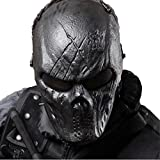 Tactical Mask Skull Full Face with Metal Mesh Eye Protection-Airsoft/BB Gun/CS Game-Zombie Masks Heads Scary for Cosplay Party Halloween Tricky Man&Women