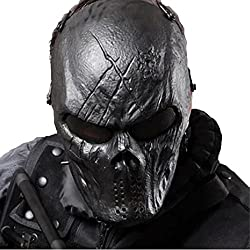 top 10 airsoft cool masks Tactical Mask with Metal Mesh Eye Protection Skull Full Face-Airsoft / BB Gun / CS Game-Zombies Mask …