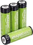AmazonBasics - Pilas AA recargables, precargadas, paquete de 4 (el aspecto puede variar)