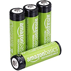 AmazonBasics AA Rechargeable Batteries (2000 mAh), Pre-charged – Pack of 4