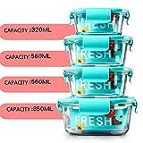 NOBRAND Contenedor de Almacenamiento de Alimentos: Tapa de 4 Piezas (4 contenedores más 4 Tapas), sin BPA, para la Cocina o el Comedor de la casa