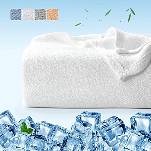 Luxear Bambusfaser Kühldecke, 200 x 220cm Kuscheldecke Selbstkühlend Arc-Chill Sommerdecke mit Q-Max 0,34 Kühlfasern aus 100prozent natürliche Bambus Tagesdecke Weiche Wohndecke Sofadecke Babydecke- Weiß