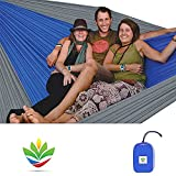 Hammock Bliss Triple - The Largest Portable Hammock on Planet Earth. Huge, King Plus Size, Multi Person, Family, 2 or 3 or Tall Person Camping Hammock. Extra Wide, Extra Long, Extra Comfortable