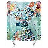 QEES Duschvorhang aus Stoff Wasserdichter Duschvorhang mit verstärktem Saum Anti-Schimmel Textilien Wasserabweisend Dusche Vorhang Verschiedene Bilder zu wählen YLB01 (M, Hirsch)