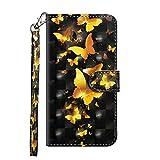 Huawei Honor 7X Hülle, SONWO Flip PU Leder Handyhülle mit Cash Card Slots, Ständer Funktion und Magnetverschluss für Huawei Honor 7X, Schwarz