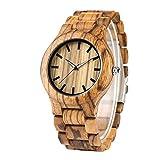 LYMUP Reloj de madera de rayas naturales reloj de pulsera de madera de bambú simple banda de madera relojes de mujer unisex reloj de hora regalos para Navidad, vapor (color : madera de cebra)