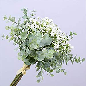 Skyseen Artificial Flowers Eucalyptus Leaf Babys Breath Gypsophila Bouquets Wedding Party Home Decor,Pack of 1(White)
