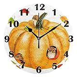 Jacque Dusk Reloj de Pared Moderno,Calabaza de Tres Ratones,