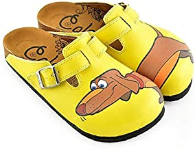Goby Yellow Dachshund Clogs WCAL346