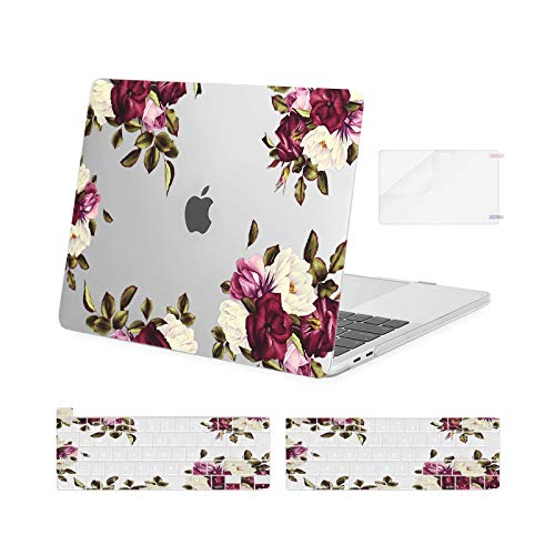 MOSISO Compatible with MacBook Pro 13 inch Case 2016-2020 Release A2338 M1 A2289 A2251 A2159 A1989 A1706 A1708, Plastic Eustoma Hard Shell Case&Keyboard Cover Skin&Screen Protector, Transparent