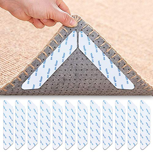 Xionghonglong Pinzas para alfombras,24PCS Lavable Reutilizable para alfombras,Pinza Alfombra Pinza,Alfombra Cinta Antideslizante Agarre de Alfombra,Adhesivos Reutilizables para alfombras (Blanco)