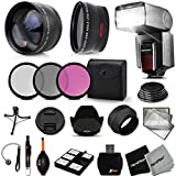 Premium 52mm Accessory Kit for Nikon D5300 D5200 D5100 D3300 D3200 D3100 DSLR Cameras - Includes: High Definition Wide Angle Lens with Macro Closeup feature, + High Definition 2X Telephoto Lens + Professional Speedlight Flash + 3 Piece HD Filter Set + + Ring Adapters to from 46-62mm + 52mm Tulip shaped Hard Lens Hood + 52mm Soft Rubber Lens Hood + 52mm Lens Cap + Universal Card Reader + Mini Table Tripod + Memory Case Holder + Screen Protectors + Mini Blower + Cleaning Pen + Lens Cap Holder + Deluxe Cleaning Kit + Ultra Fine HeroFiber Cleaning Cloth