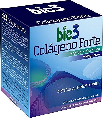 NUEVO bio3 - Colágeno Forte. Colágeno Hidrolizado alta absorción (líder del mercado), Ácido Hialurónico, Magnesio, vitaminas C, A y K. Agradable sabor y fácil disolución. Formato sobres individuales de fácil apertura. 30 sobres de 12 gramos. Envío Gratis.
